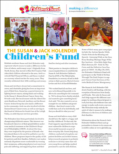 Holender Childrens Fund in Blue Bell's Finest Magazine